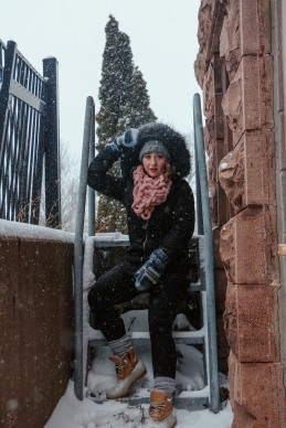 Snowy stairs. snowy stares.