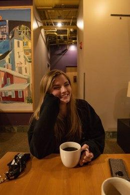 Straight black coffee (we're twins).