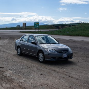 I-80 W, WY. This little car.