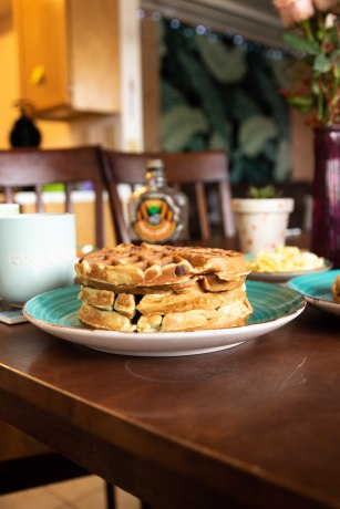 Stack of banana waffles.